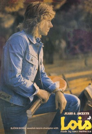 Ancient picture of tennis player Björn Borg in Lois jeans