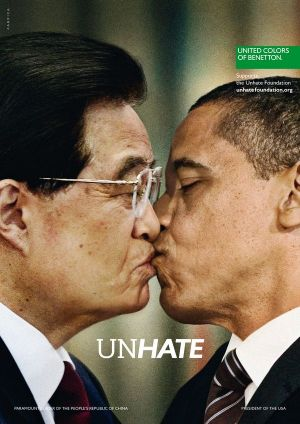 Benetton UnHate campaign showing US President Barack Obama and Chinese leader Hu Jintao