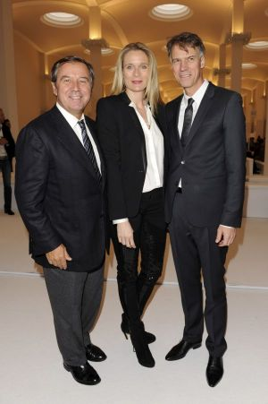 Gaetano Marzotto, Hugo executive board president Claus-Dietrich Lahrs with his wife Iris at the Hugo fashion show