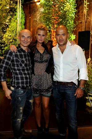 Gigi Vezzola, Alexandra Richards and Matteo Sinigaglia at Milan's Fashion's Night out