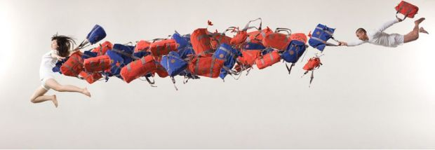 "Installation by contemporary artist Li Wei, which was created in the ""Play with bags"" initiative for Kipling's 25th anniversary"
