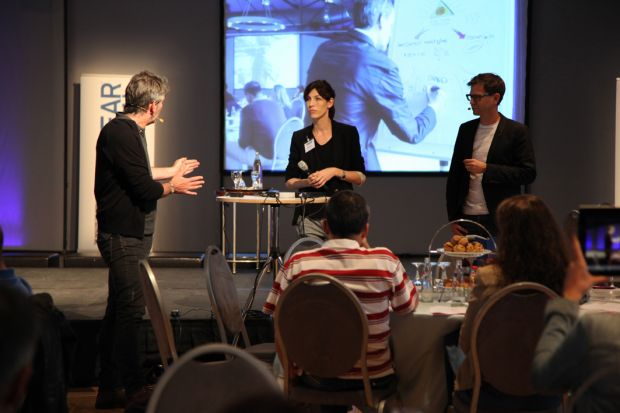 John Ryan (left), Sabine Kühnl and Mathias Haas