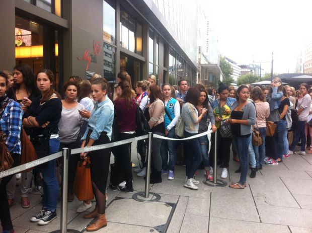 Line in front of the store