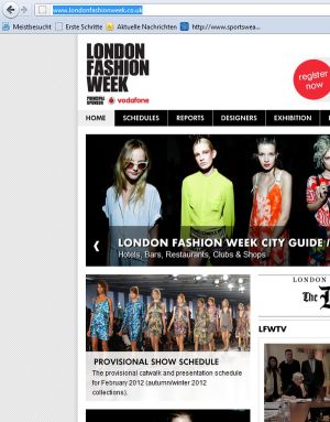 London Fashion Week website shot
