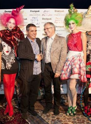 Manel Adell ( Desigual) and (right) Mario D'Amico (Cirque du Soleil) with models