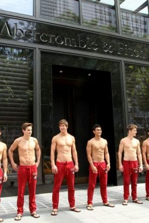 Models in front of the A&F store in Singapore