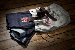 Mustang Anniversary Collection: Jackets and denim jeans in vintage canvas sailor bags.