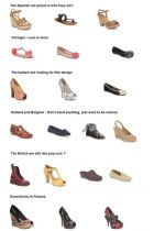 Shoe taste across Europe: Spain, Portugal, Italy, Holland & Belgium, UK, Finland (top to bottom)