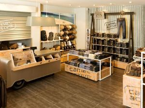 The store's check-out counter and denim wall.