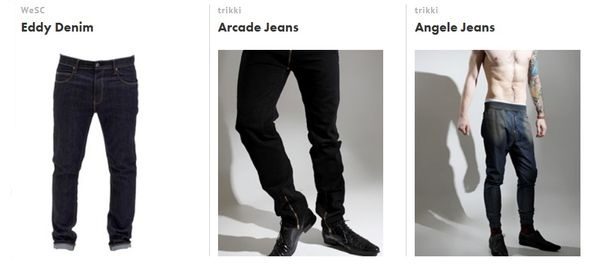 WeSC and Trikki are some of the men's denim brands present at the courcing site.