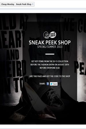 pop-up shop Cheap Monday Sneak Peek Shop
