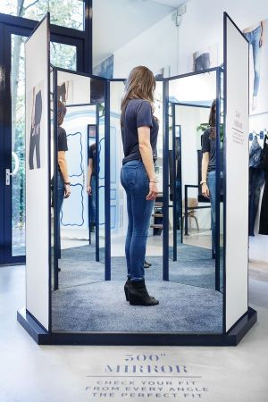 300° mirror inside the new women's denim bar
