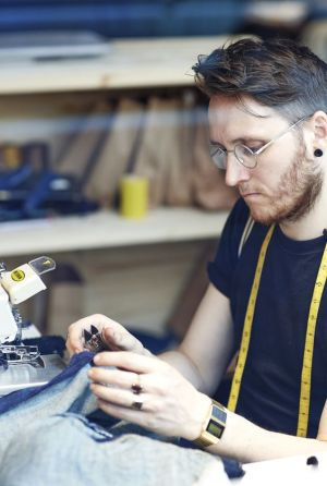 A Levi's in-house tailor at work
