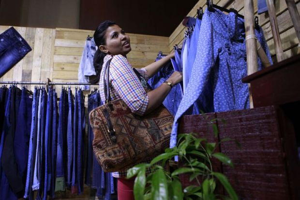 A buyer at the Dhaka-based denim show.
