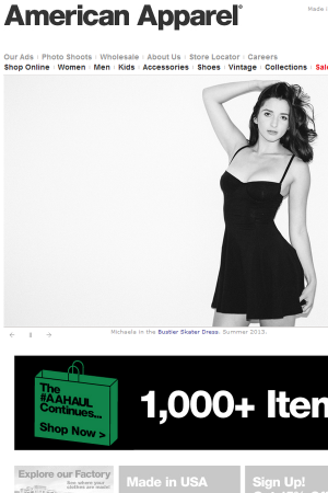 American Apparel website screen shot