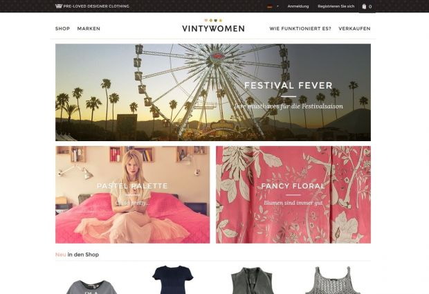 Aspect of the Vintywomen e-commerce site