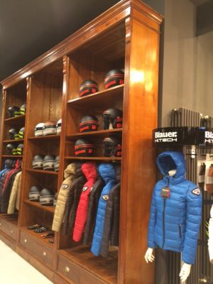 Blauer High. Tech jackets at the brand's store in Milan
