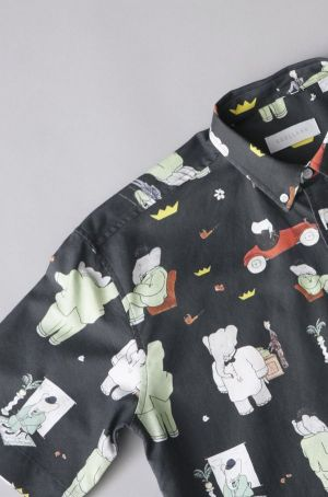 Button-down shirt with the iconic Babar print