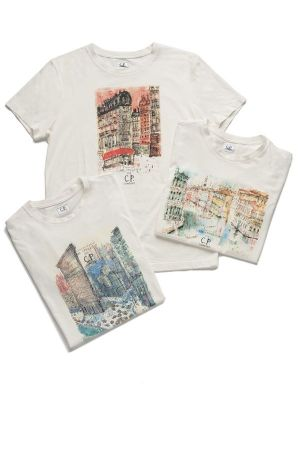 C.P. Company x Clare Caulfield t-shirts with New York, Paris and Venice print