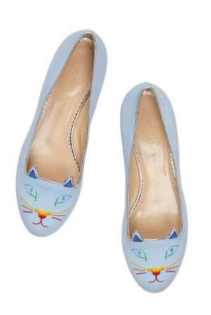 Charlotte Olympia's Kitty flats as part of the SIlver Linings collection