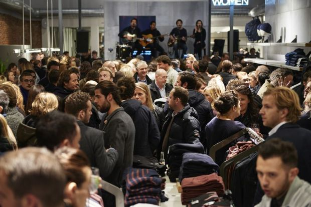 Crowds at the opening with band Dotan playing in the background