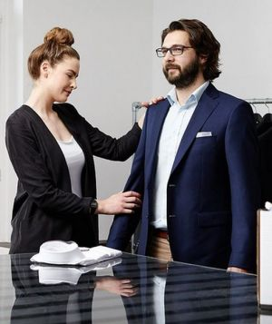 Customers can try on their clothes directly in the Berliner showroom