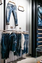 Denim selection at the new Cara Label shop in Milan