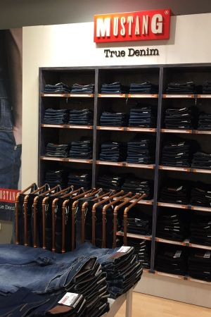 Denim wall in Mustang´s shop in Galeria Inno, Brussels