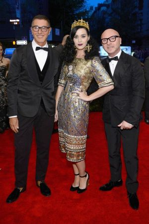 Domenico Dolce, Stefano Gabbana and Katy Perry at store opening in London.