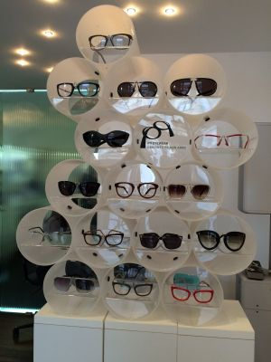Eyewear display at Punto Ottico/Human Eyes