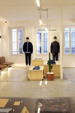 Fitting room area inside the Carhartt Bastille store