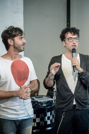 From left: designer Luca Gregorio prized by Massimiliano Bizzi, Founder White Milano