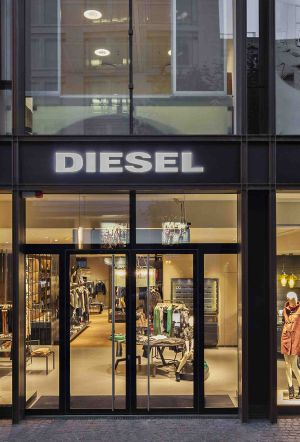 Front entrance of the new Diesel flagship in Frankfurt