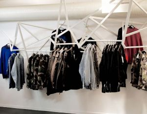 Geometric clothes rails in the store