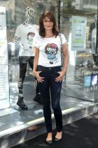 Helena Christensen in her T-shirt for Coin/Oxfam Italia