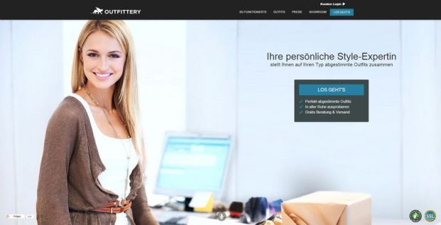 Homepage of Outfittery, where users could access directly to the online style survey