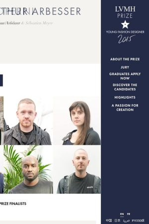 Homepage of the LVMH Prize