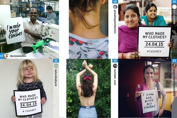 Impression of the digital campaign #whomademyclothes and #fashrev