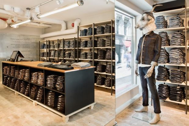 Interior of the Nudie Jeans store in Drottninggatan 49, Gothenburg