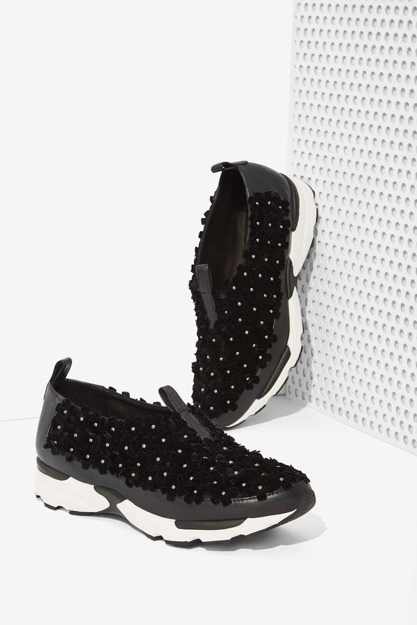 Jeffrey Campbell Aleksa Leather Trainer in Floral
