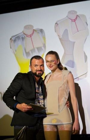 Julien Fournié and model at a recent FashionLab presentation in Frankfurt Main