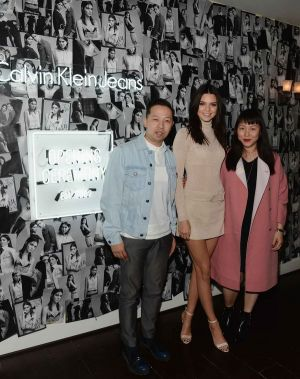 Kendall Jenner with OC's Humberto Leon and Carol Lim at the LA launch (photo: Getty)