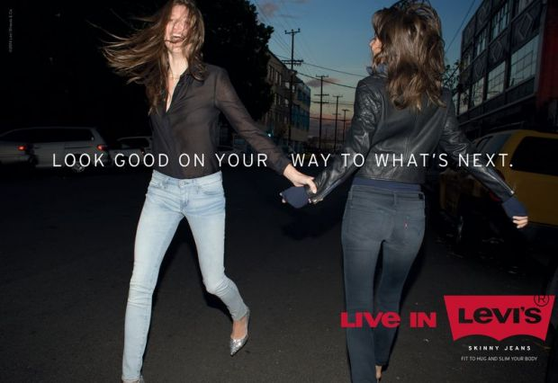 'Live in Levi's' print ad promoting the skinny jean