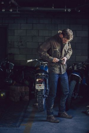 Look from the men's Barbour x Deus Ex Machina collection