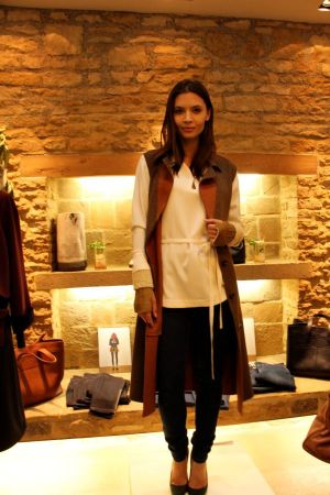 Model wearing Bamford pieces and Ida jeans at the launch event