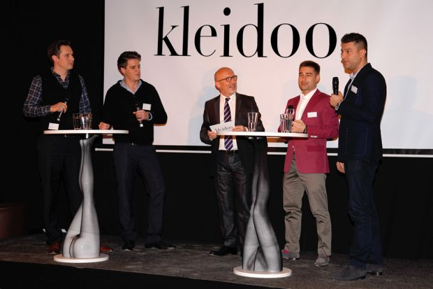 New Business partners (from left): Markus Haggenmiller and Andreas Muscheid (Fashion Locals), host, Feodor Kouznetsov and Aranga Rahim (Kleidoo)