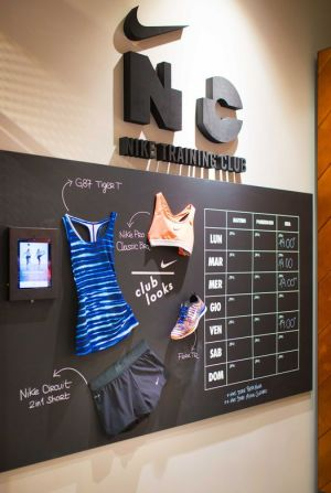 Nike Training Club wall inside the store