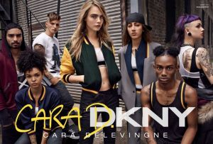 Official campaign picture of the Cara Delevingne for DKNY capsule collection