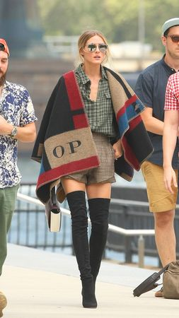 Olivia Palermo wearing her Burberry monogram blanket poncho // picture by Burberry