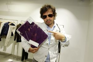 Olivier Zahm with the Purple Jeans at the Closed store opening event, Paris.